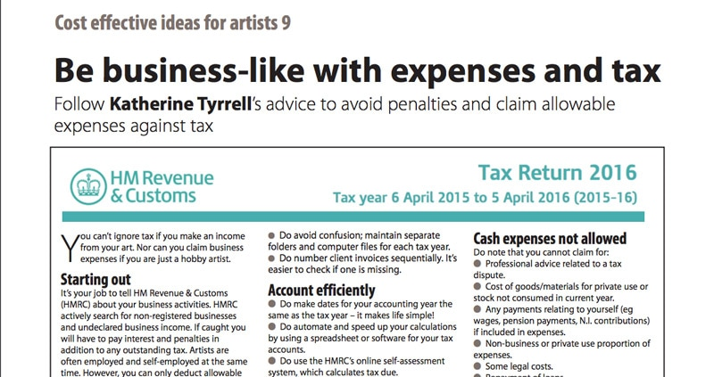 Tax Tips for Artists - Art Business Info  for Artists