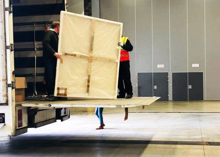 Taking delivery of artworks re. Stage Two judging of the John Moores Painting Prize | copyright Katherine Lloyd